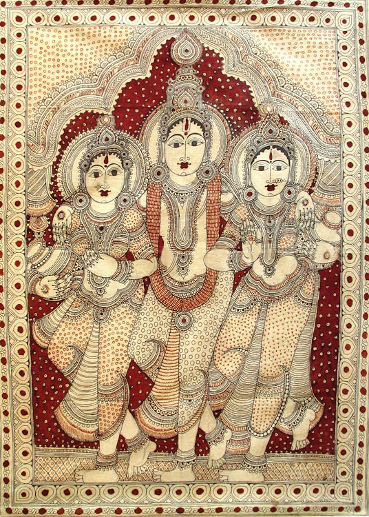 A cloth-painting depicting Sri Krishna with Rukmini and Satyabhama